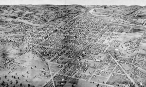 A bird's-eye view of Ann Arbor in the 1870s, when coeducation at Michigan was just beginning.