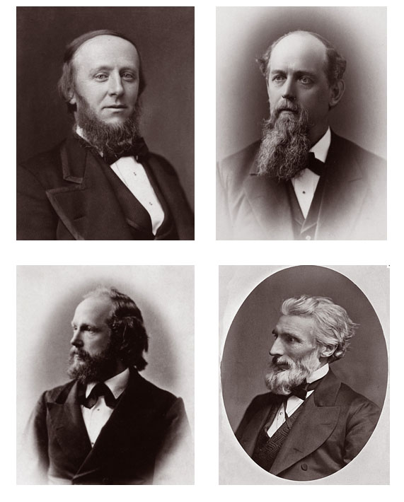 Clockwise from upper left: President James Burrill Angell, who promoted Mary out of the freshman class; Professor Edward Olney, who made fun of her; Professor Benjamin Franklin Cocker, who fascinated her; Professor Moses Coit Tyler, who inspired her.
