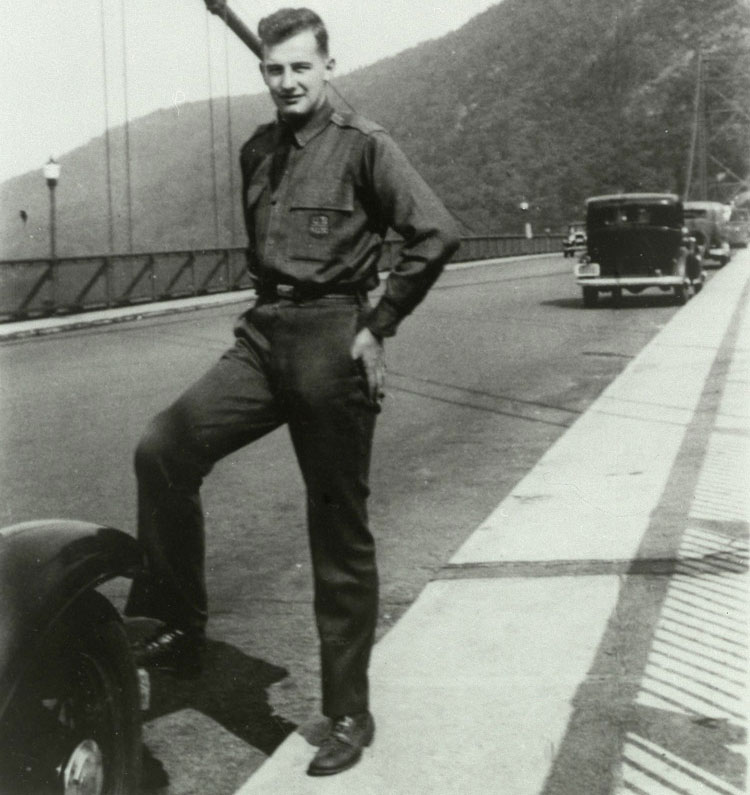 "Wallenberg poses on the Bear Mountain Bridge in upstate New York. He often traveled to Connecticut to visit relatives. ""Roads and bridges are what impress me most here,"" he said of the United States."