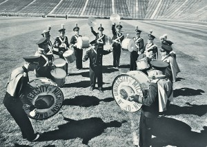 Revelli and the marching band's drum section in 1954.