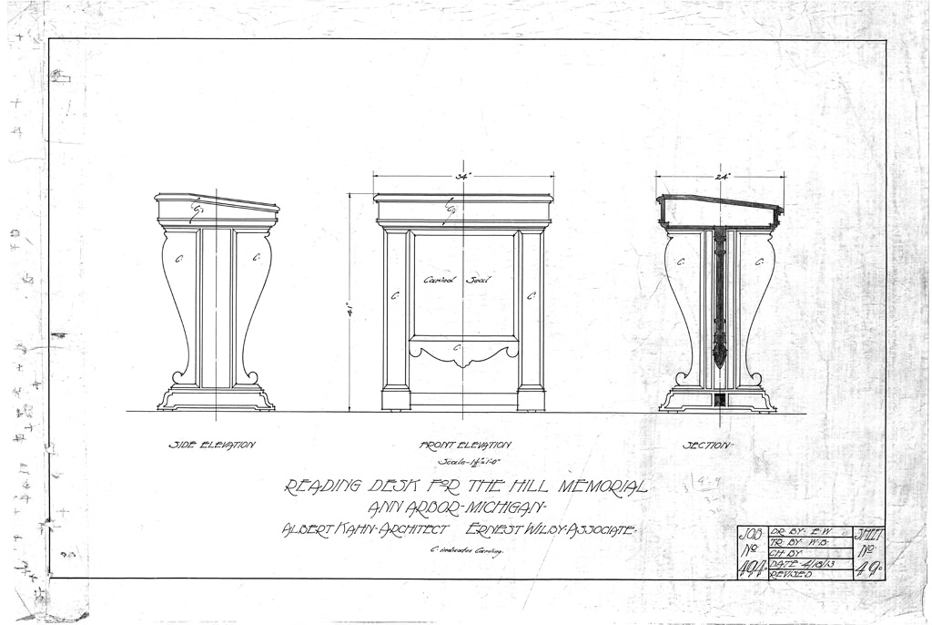 Architect Albert Kahn's blueprint for the Hill Lectern (1913)