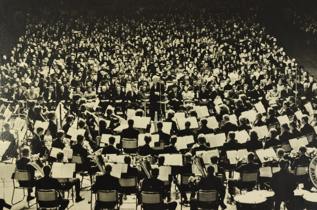 The Michigan Symphony Band performs at the Moscow Sports Palace in February 1961. It was the opening concert of a four-month international tour.