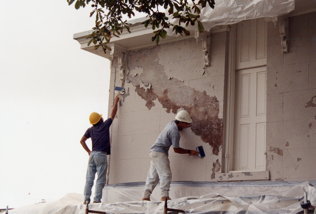 Workers paint the Observatory in a restoration directed by Quinn Evans Architects.