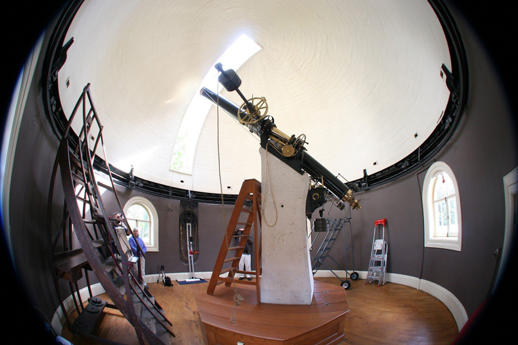 The refracting telescope in the Observatory's dome.