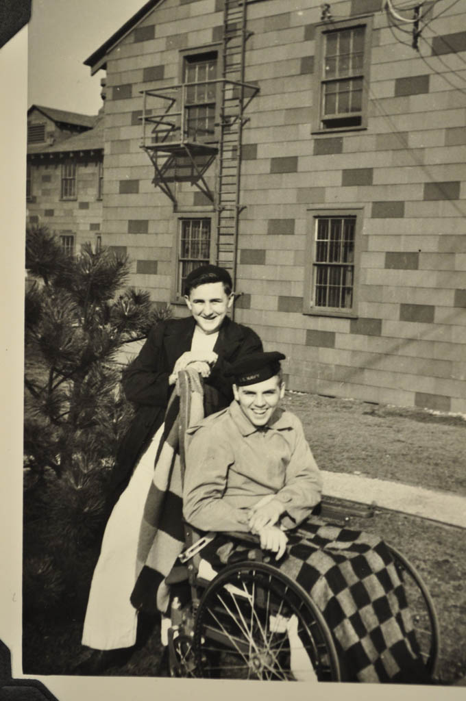 Richard Kuehn, with his mother, Elsie, after his injury.