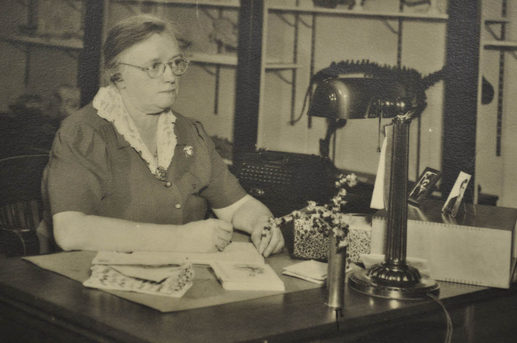 """Aunt Ruth"" at her desk."
