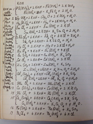 Edward Campbell's notes on chemical reactions from his days as a U-M undergraduate in the early 1880s.
