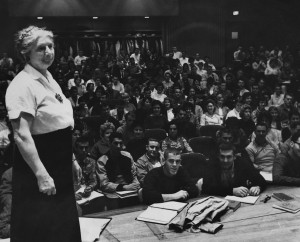 Hazel Losh on the stage in an Angell Hall auditorium. She may have taught more students than any other Michigan professor.