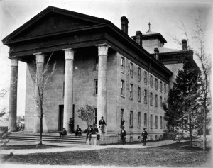 The building that first housed Michigan's medical department (renamed the School of Medicine in the early 1900s), on the site now occupied by the Randall Laboratory. Dissections were conducted inside.