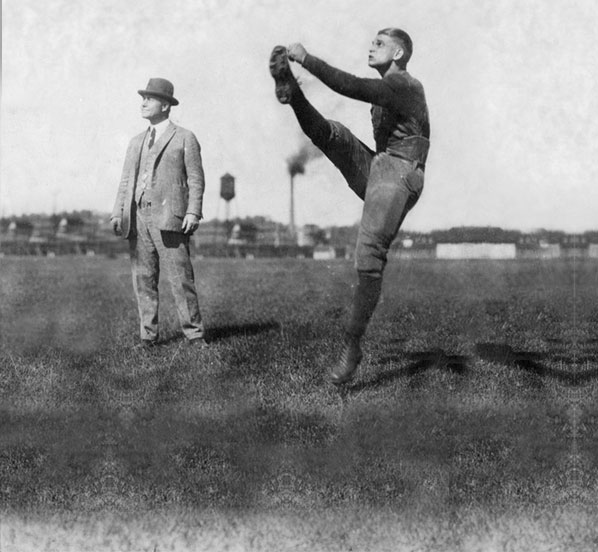 Yost with Harry Kipke, the last great Michigan star to play at Ferry Field. Kipke soon would coach the Wolverines in Michigan Stadium.