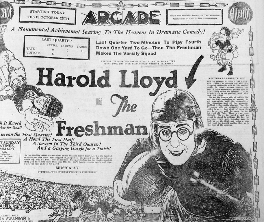 "In the fall of 1925, as Neil Staebler and Robert Angell argued against a new stadium, the comedy star Harold Lloyd was appearing at Ann Arbor's Arcade Theater as ""The Freshman,"" an eager beaver determined to win love and popularity on his college's football team."