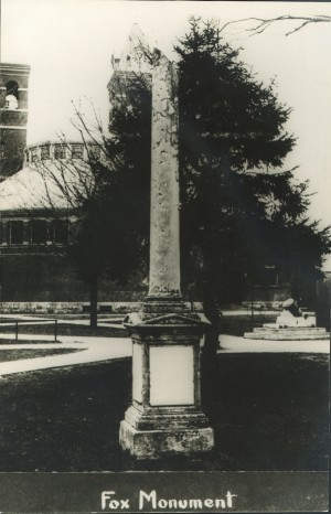 A cenotaph pays tribute to four deceased U-M professors, including Agriculture Professor Charles Fox. The broken column symbolizes a life cut short. Today it stands at the southeast corner of the Graduate Library.