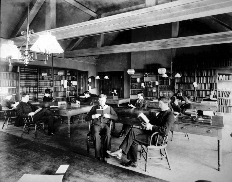 University of Michigan students in the university library in the 1870s.