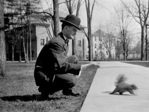 Feeding squirrels on the Diag in about 1913.