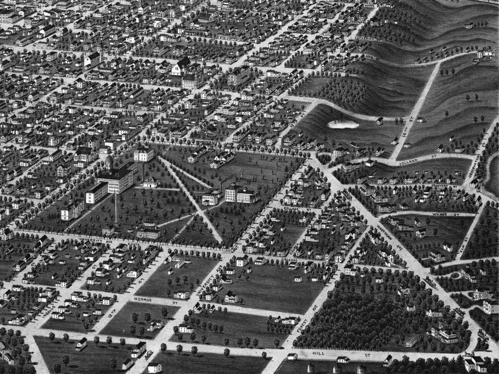 In this section of a panoramic map of Ann Arbor in 1880, the Cat Hole with its pond is plainly visible at center right.