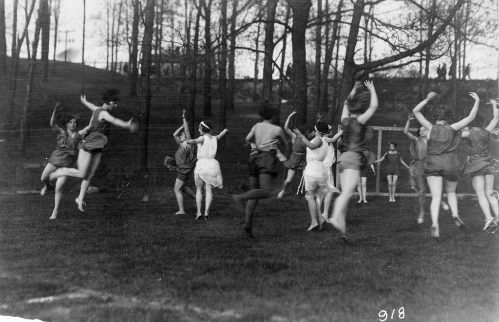 Students in a physical education class flow through a dance exercise in the first Sleepy Hollow.