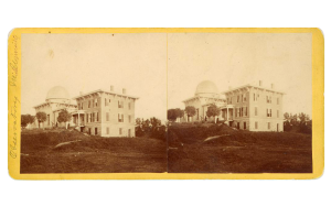 A stereoscopic portrayal of the Detroit Observatory.