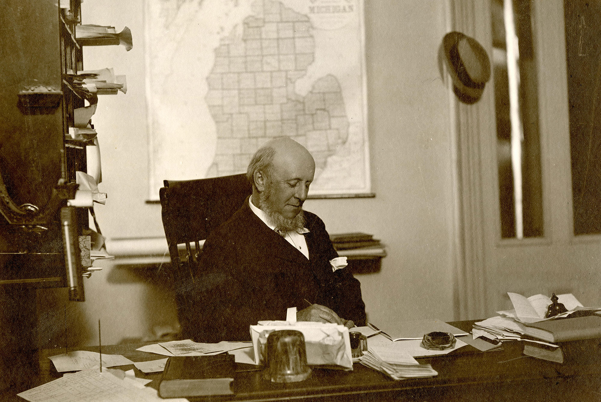 James Angell at desk