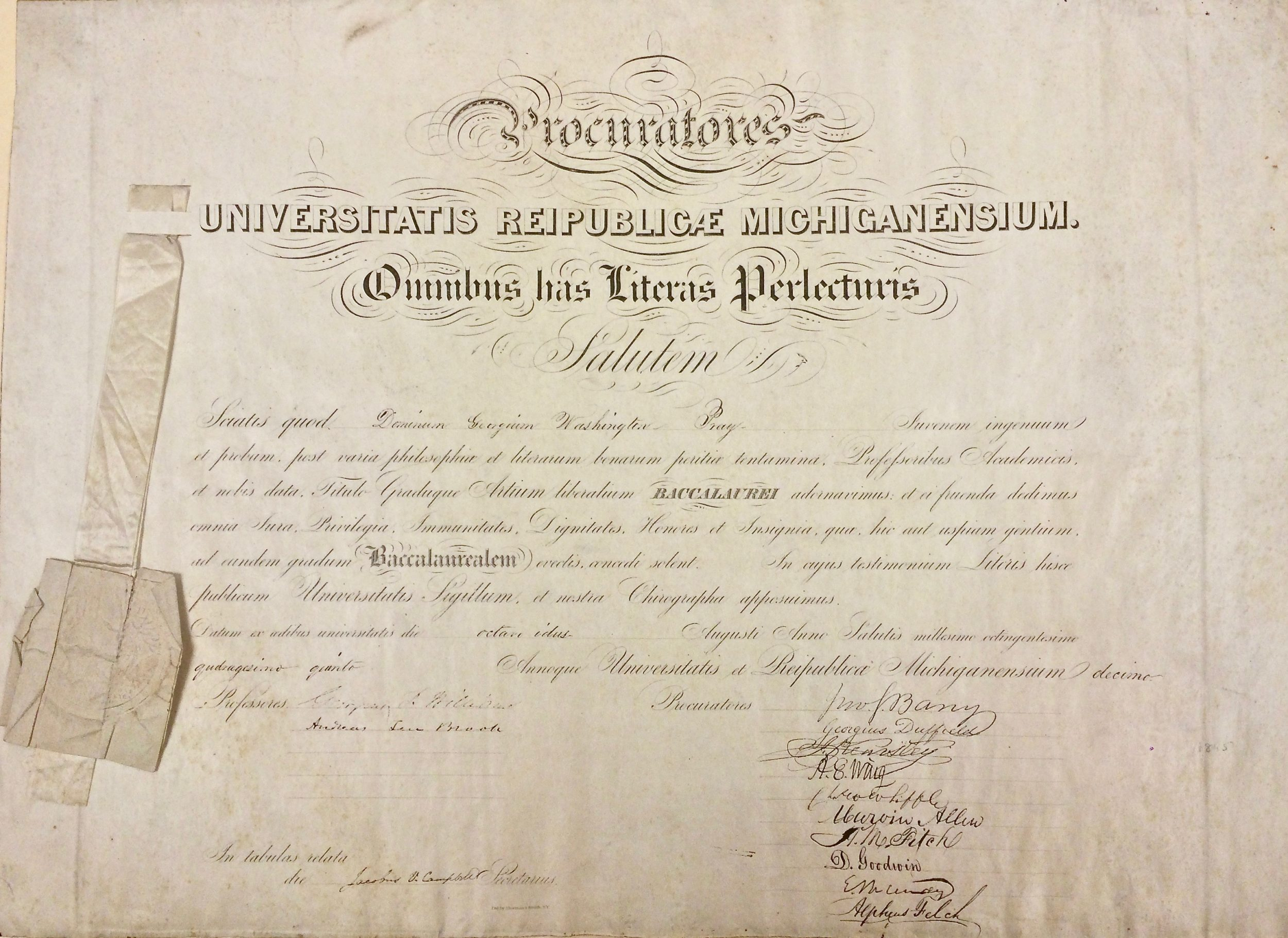 1845 diploma for George Washington Pray