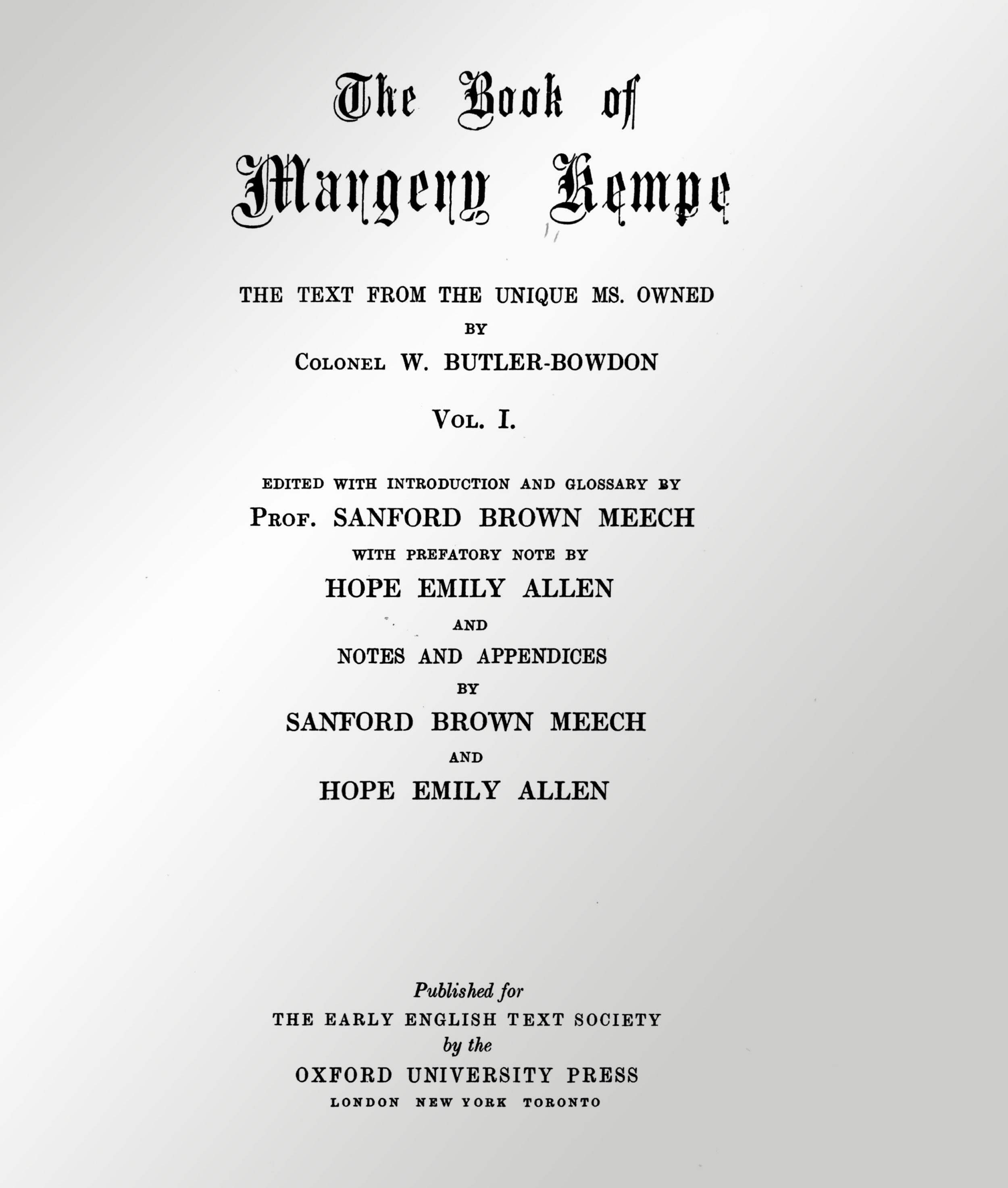 Title page of Book of Margery Kempe