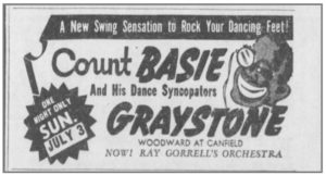 An advertisement for Count Basie and his orchestra in 1938.