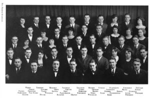 Margaret White, upper left, joined her fellow Michiganensian staff members for a 1923 photo.