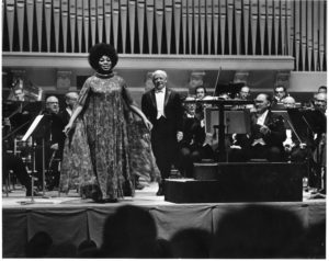Soprano Leontyne Price with conductor Eugene Ormandy on the opening night of the 1971 May Festival.