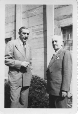 Cellist Gregor Piatigorsky, left, and UMS President Charles Sink in 1949.