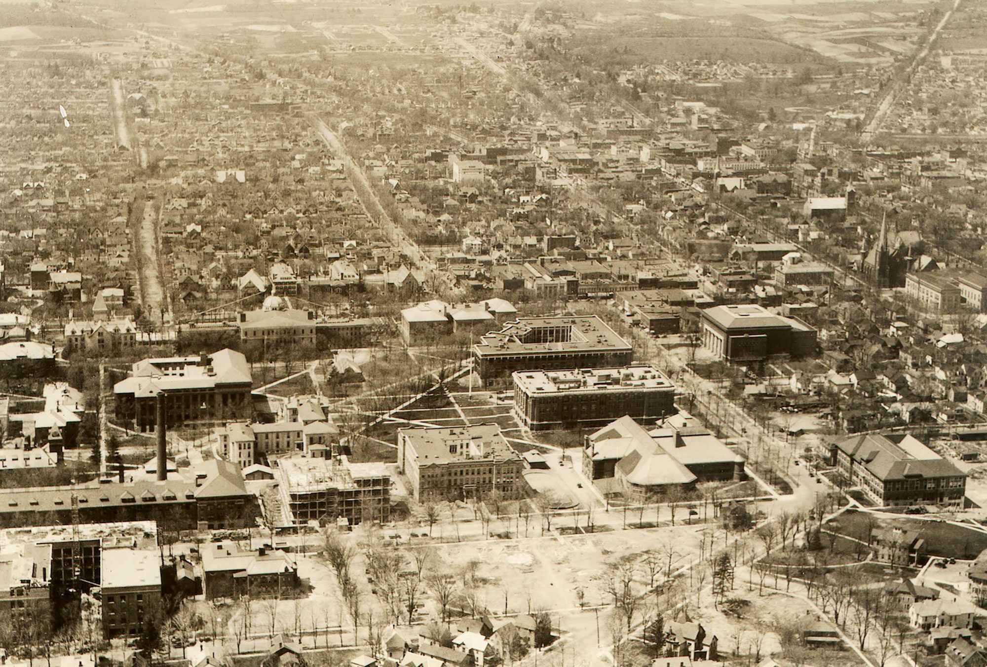 The University of Michigan campus and Ann Arbor, 1924.