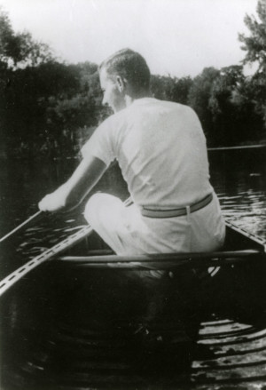 Wallenberg canoes on a lake near Owosso, Mich., home of one of his friends from U-M.