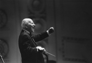 Dr. William Revelli was guest conductor for Keith Brion and the New Sousa Band during an October 1992 performance at Hill Auditorium.