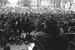 Students gather for a Diag rally during Michigan's 1970 Teach-In on the Environment.