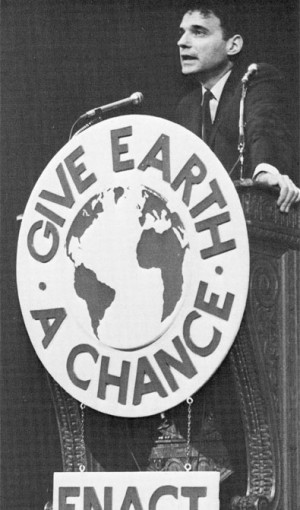 Consumer activist Ralph Nader urged Teach-In listeners to take part in broad-based citizen action to fight for a cleaner environment.