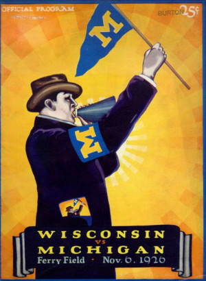 The prototypical alumnus, captured on the cover of the U-M football program of November 6, 1926.