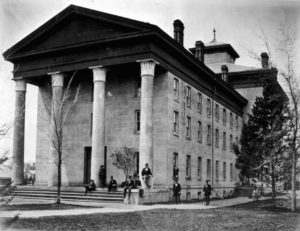 Medical students planned for the Great Rush at this building on East University, the original home of the Medical Department (renamed the Medical School in the early 20th century.)