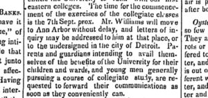 A notice from the Aug. 18, 1841, edition of the Detroit Free Press issued a call for students to come to Ann Arbor.