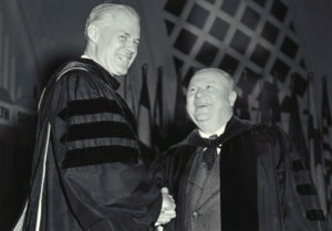 Harlan Hatcher, a scholar of English literature, accepts Regent Roscoe Bonisteel's congratulations at his inauguration as U-M's eighth president in 1951.