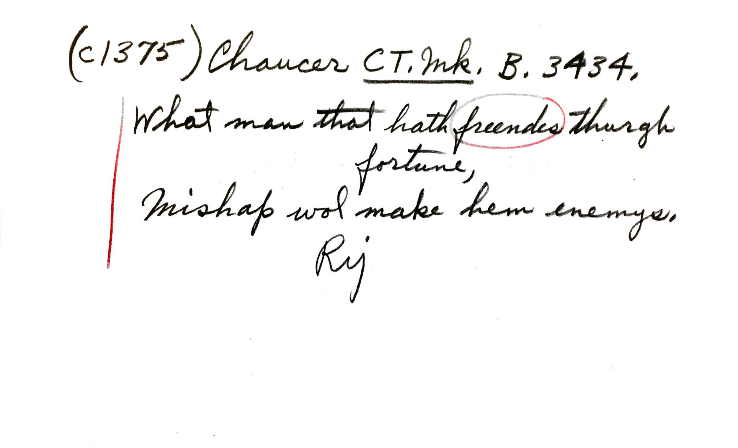 Chaucer citation slip