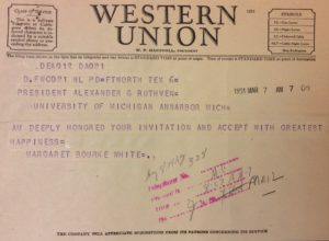 An invitation to receive an honorary degree from U-M drew an enthusiastic response from Margaret Bourke-White.