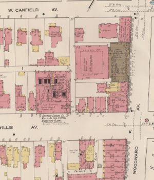 A Sanborn Fire Insurance map from 1921 shows the footprint of the Trocadero Hotel, noted as a