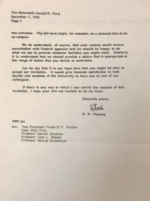 President Robben W. Fleming's invitation to Ford to teach at U-M after leaving the White House.