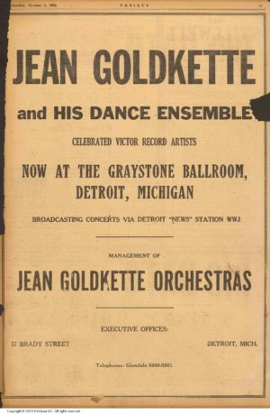 The Graystone Ballroom, as advertised in the industry publication, Variety, in 1924.