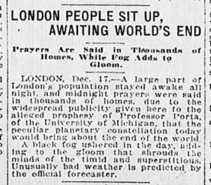Albert Porta's 1919 prophesy had people on edge throughout the world.
