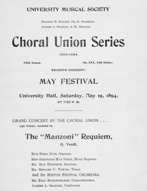 The concert program for Emma Juch's May Festival appearance.
