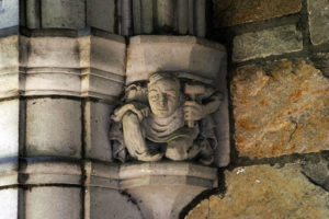 A corbel in a passageway of the U-M Law Quad memorializes