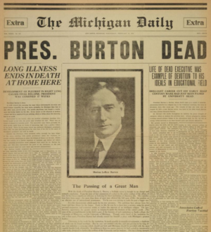 The Michigan Daily published a special edition on the day of Burton's death.
