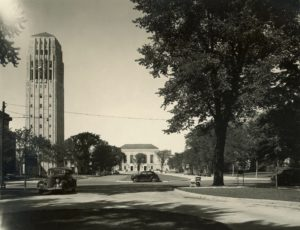 The bell tower and Ingalls Street in about 1940.