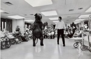 A baby elephant entertains patients and their families at Mott Children's Hospital in 1970.