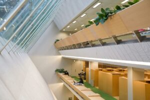 Natural light fills the library, as promised by architect Gunnar Birkerts.