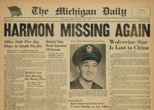 The campus paper kept track of Harmon's wartime activities.